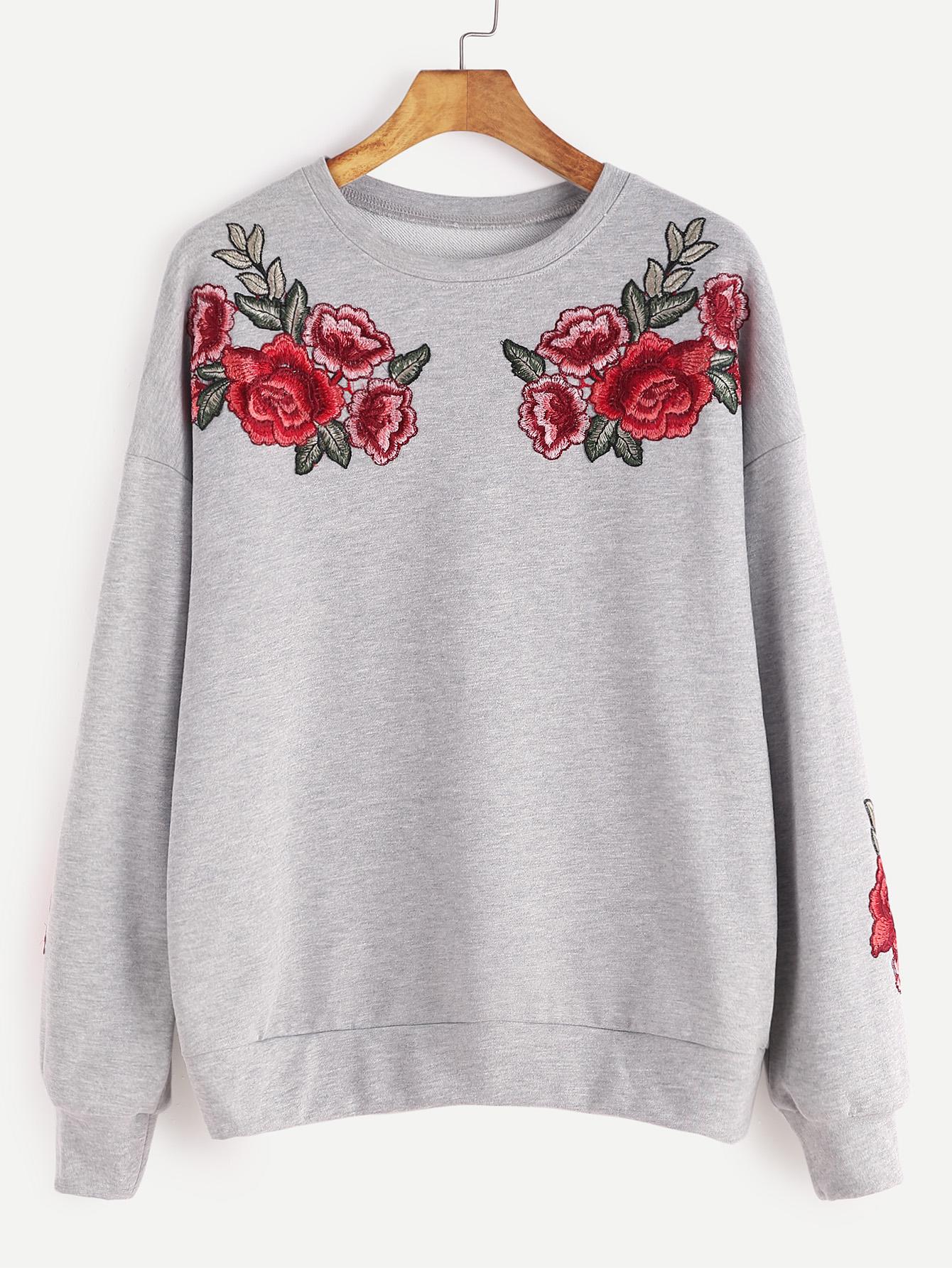 Heather Grey Drop Shoulder Rose Embroidered Sweatshirt | MakeMeChic.COM