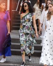 dress,one shoulder dress,floral dress,floral,shoes,sunglasses