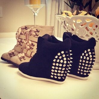 shoes clothes studs black noir basket studded shoes platform shoes wedges high top sneakers sneakers same as the pic please