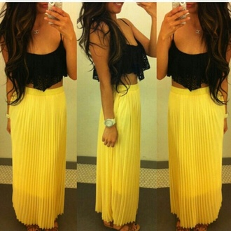 skirt maxi skirt maxi ruffle pretty summer bandeau blouse tank top watch