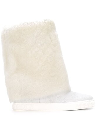 fur faux fur boots white shoes