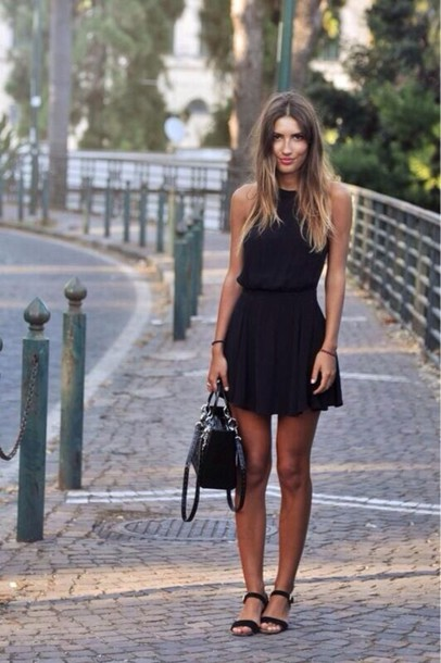 dress little black dress shoes revolve clothing black dress summer dress loose dress casual dress black black shoes sandals open toes halter neck