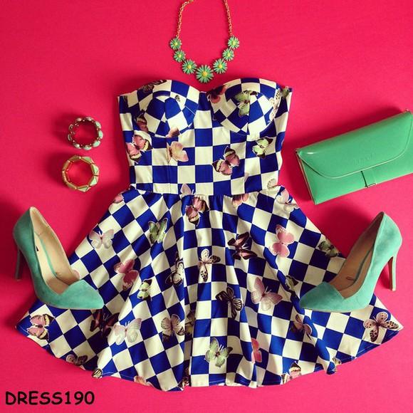 blue dress checkerboard butterfly strapless girly white blue pretty dress