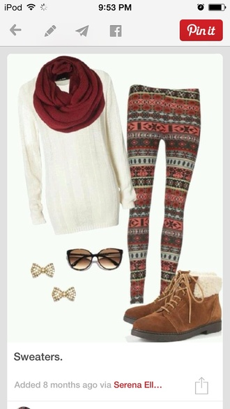 scarf leggings printed leggings oversized sweater sweater scarf