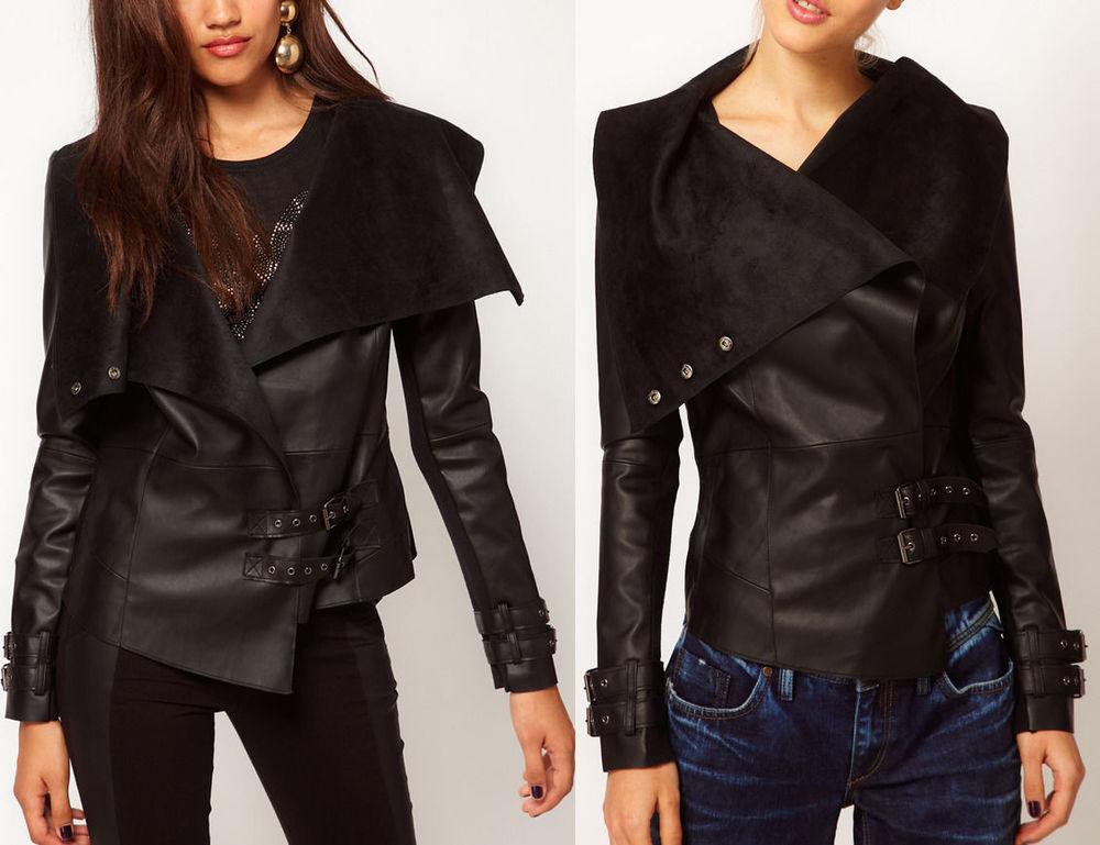 River island woman black knit stitching leather jacket motorcycle jacket coat