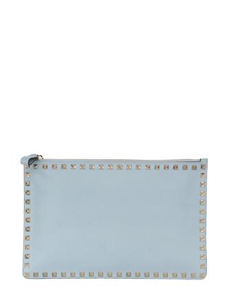 pouch leather light blue light blue bag