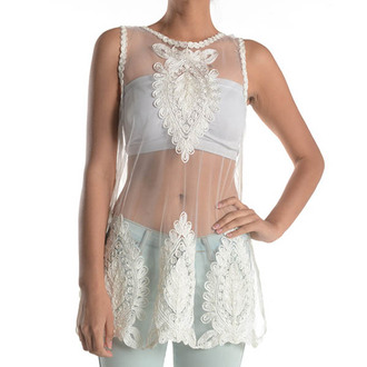 white top fashion mesh crochet ishopcandy lace lace top transparent top mesh top delicate ivory