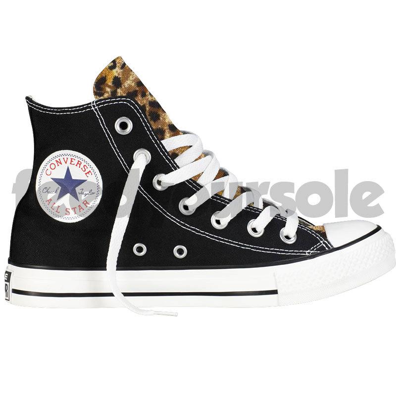 5db3f7aa57e7c Custom Converse Chuck Taylor All Star Black High Top Leopard Print Men &  Women