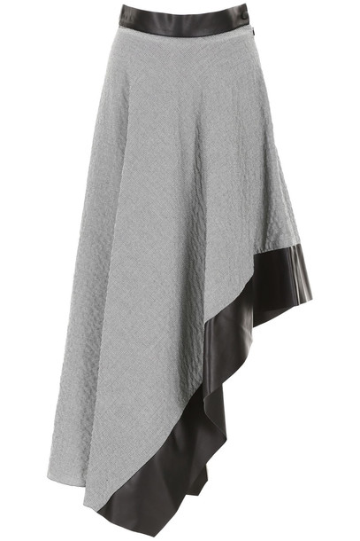Loewe Asymmetric Skirt With Leather Details in black / white