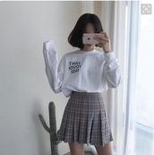 shirt,skinny,big shirt,kfashion,white,longsleeved t-shirt,plaid,plaid skirt