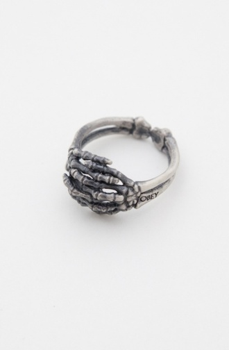 jewels ring skeleton bones hands silver oxidized silver