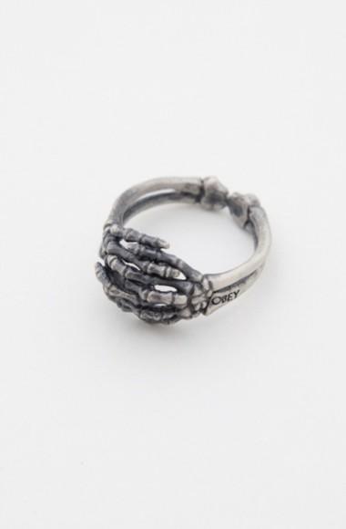 bones skeleton hands jewels ring silver oxidized silver