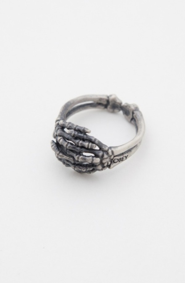 jewels ring skeleton bones hands silver oxidized silver
