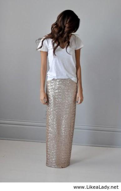 949bb6174 skirt, sequins, maxi skirt, t-shirt, white, sequin maxi skirt ...