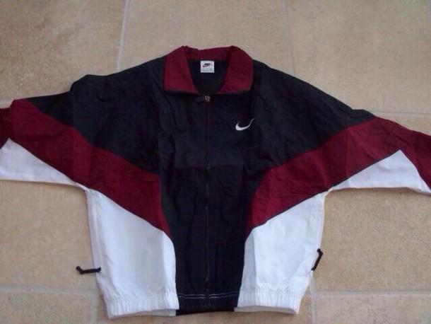 coat jacket vintage nike jacket nike burgundy jacket. Black Bedroom Furniture Sets. Home Design Ideas