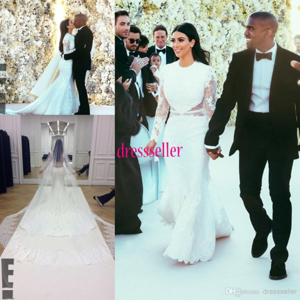 Kim Kardashian Mermaid Wedding Gown : Wedding dress kim kardashian long sleeve lace
