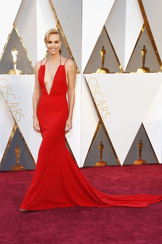 dress red dress red carpet dress charlize theron gown oscars 2016 actress plunge dress prom dress prom gown long prom dress