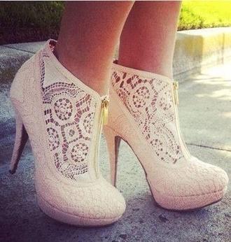 shoes high heels nude heels girly white lace zip up heel heels hipster