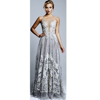 dress silver gown class long dress long sleeves long prom dress style sexy dress classy accessories jewels outfit fashion grey dress earphones gloves blue white lace