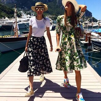 dress anna dello russo floral floral dress floral skirt sneakers straw hat three-quarter sleeves