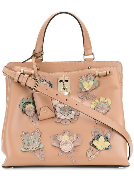 Valentino women floral leather nude bag