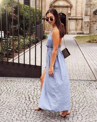 dress tumblr maxi dress blue dress open back backless backless dress slit dress sandals flat sandals sunglasses shoes