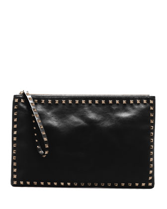 Valentino Rockstud Leather Clutch Bag, Black - Neiman Marcus