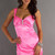 Satin Elastic Straps Brooch Empire Column Pink -like Cocktail Dress - Promdresshouse.com