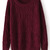 Dark Red Long Sleeve Diamond Patterned Pullover Sweater - Sheinside.com