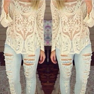 shirt white lace cute top style long sleeve patterned jeans