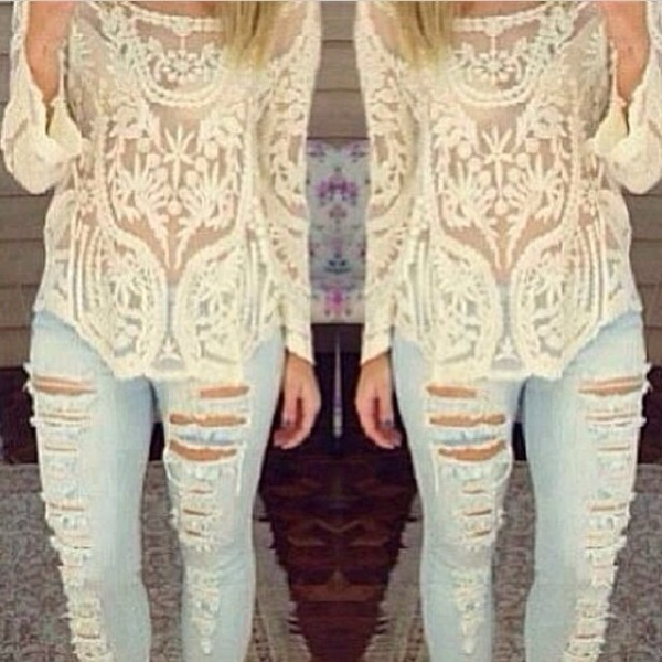 shirt white lace cute top style long sleeves pattern jeans