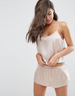 ASOS Chiffon Side Satin Cami & Short Pyjama Set at asos.com