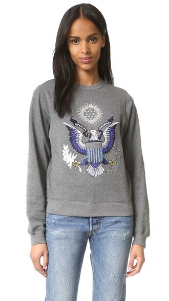 sweatshirt eagle embellished charcoal sweater