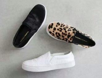 shoes slipon leather trendy sneakers platform black white slip on leopard print leopord print