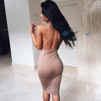 dress beige taup midi nude dress
