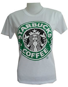 "Women Youth T Shirt Starbucks Coffee Freesz 24""x16"" White Vintage Print Cotton 