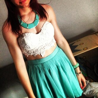skirt lace strapless turquoise skirt high waisted skirt midriff crop tops jewelry turquoise turquoise necklace jewels top homecoming long dress sequins one shoulder dress aqua baby blue