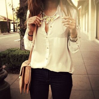 blouse white button up blouse gold buttons chiffon blouse bag jewels