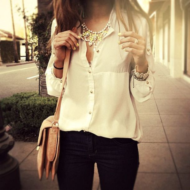 Blouse: white, button up blouse, gold buttons, chiffon blouse, bag ...