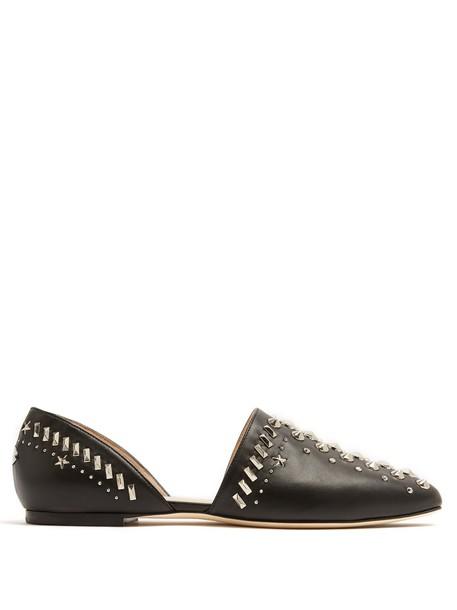 Jimmy Choo embellished flats leather flats leather black shoes
