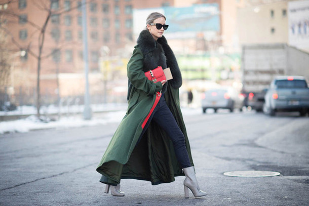 the fashion guitar blogger coat winter coat long coat grey shoes sweater jeans shoes bag sunglasses