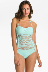 Robin Piccone Blue Penelope Crochet Overlay One Piece Swimsuit
