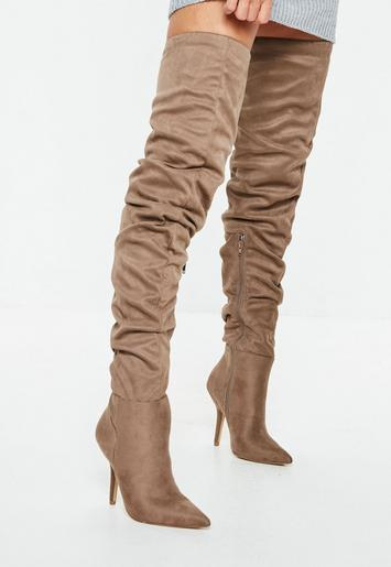 Missguided - Brown Slouchy Over The Knee Boots