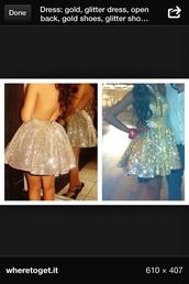 dress,gold glitter dress lowback