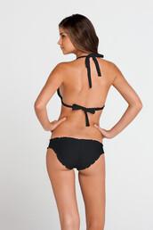 swimwear,bikini bottoms,black,luli fama,ruched bikini,full coverage,bikiniluxe,ruched