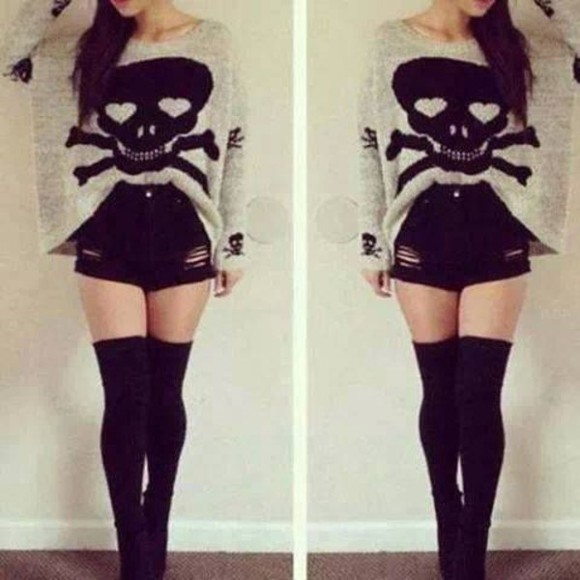 skull grunge sweater punk rock style cute