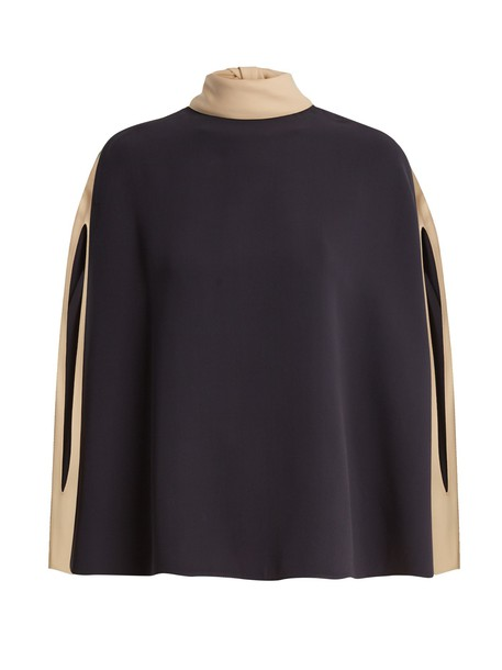 Valentino blouse cape silk navy top