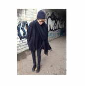 elaynealmoses,all black everything,scarf,jacket,wool,trench coat,pea coat,cardigan