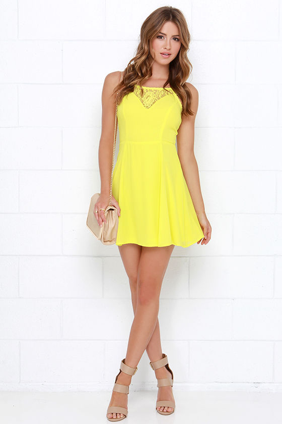 Muy Caliente Chartreuse Lace Dress