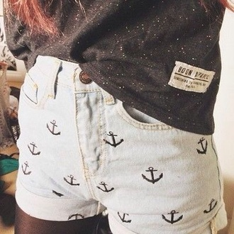 shorts shirt denim shorts anchors sailor anchor blue baby blue